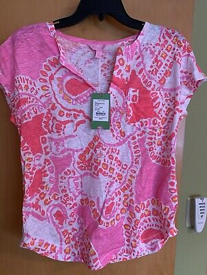 19b3bf4ba47bff Lilly Pulitzer Duval Linen Top Hot Coral Trunk In Love Elephants Size XS