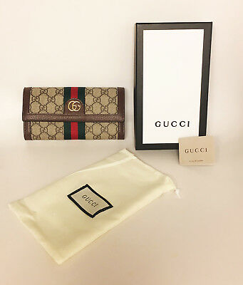 d04f1634ff GUCCI OPHIDIA GG Continental Wallet with Classic Red   Green Web ...