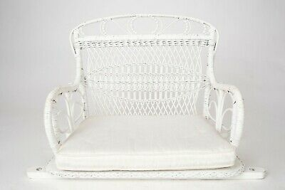 Wicker Vintage Child Size White Swing Chair used as a photography prop