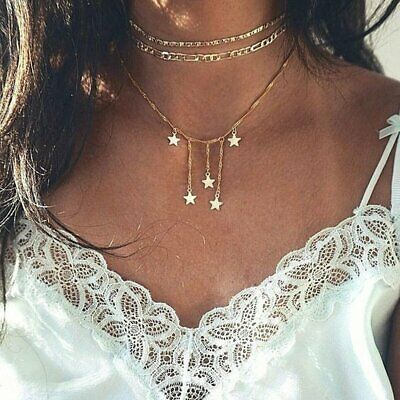 Charm Women Multilayer Gold Choker Star Crystal Chain Pendant Necklace Jewelry