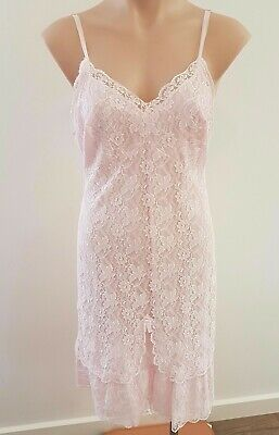 Vintage 60s BEST KNITS Lingerie Nylon PINK LACE Baby Doll NIGHTIE size S