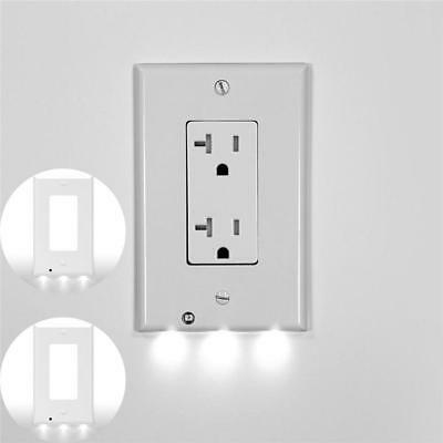 Duplex Night Angel Light Sensor LED Plug Cover Wall Outlet Cover plate Super