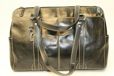 Fossil ZB2784 Glazed Black Leather Triple Multi Compartment Laptop Tote Bag