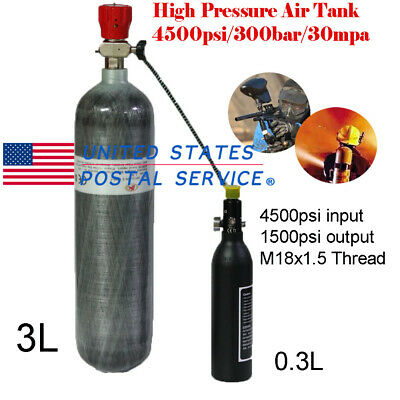 3L 4500psi High Pressure Air Tank Valve M18x1.5 Threaded+0.3L Tank Snorkeling