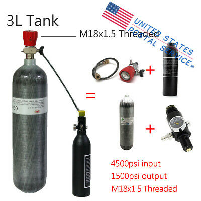 Carbon Fiber 3L HPA Air Tank 300Bar M18x1.5 Thread Regulator Valve+0.35L Bottle