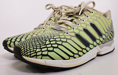 66ed5bc0b Adidas ZX Flux XENO Snake Men s Shoes White Green 3M Reflective Glow Size  10.5