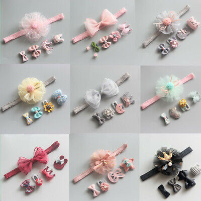 5Pcs/Set Baby Headbands For Girls Cute Kids Baby Bows Crown Toddler Hair Clips