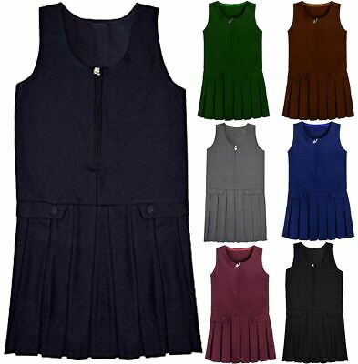 Childrens Two Buttoned Pleated Front Zip Pinafore Girls School Uniform Dress