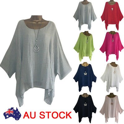 AU Plus Size Women Long Sleeve Kaftan Baggy Blouse Shirt Top Ladies Casual Tunic