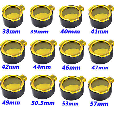 Tactical 38mm-57mm Flip Up Spring Protector Lens Cap Yellow Open Scope Cover