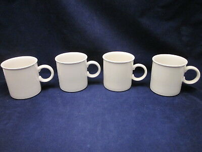 "WEDGWOOD MIDWINTER Stonehenge WHITE Mug 3.5"" Tall ~ Set of 4 ~ RARE ~ EXCELLENT"