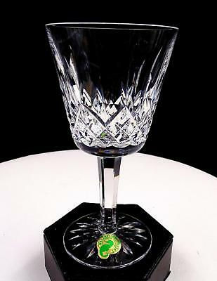 "Waterford Signed Crystal Lismore Vertical Cut 5 3/4"" Claret Wine Orig Sticker"