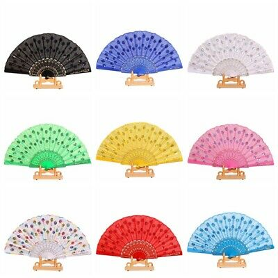 Chinese Japanese Foldable Folding Lace Hand Fan Dance Party Wedding Home Decor