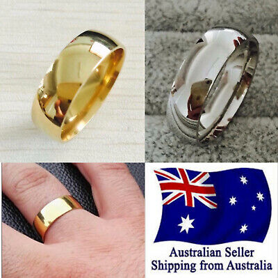 New Stainless Steel 14K Gold Plated 8mm Brushed Center Wedding Band Ring 1pc