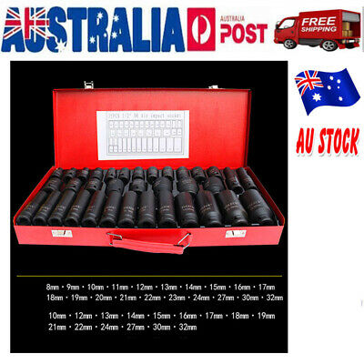 "Black Drive Deep Impact Metric Socket Set Car Garage Tools 35pcs 1/2"" 8-32mm AU"