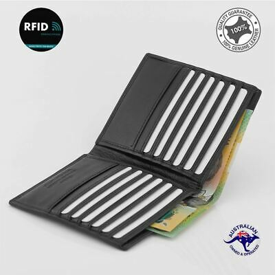 RFID Mens Genuine Cow Leather Large Wallet, Travel Bi-fold Credit Card Protector
