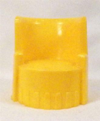 Vintage Upholstered Chair Dollhouse Miniature Barrel Yellow Hard Plastic 1950s