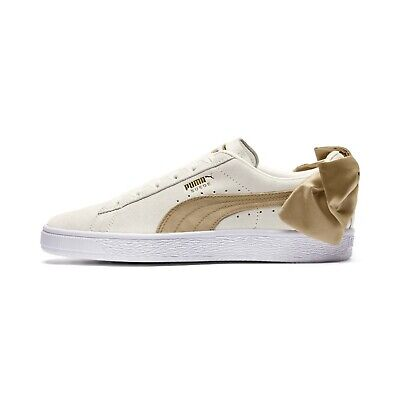 newest 0792a a917a Puma SHOES - SUEDE BOW VARSITY - WOMENS SNEAKERS - LACE - BEIGE GOLD