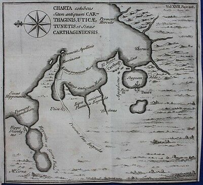 Original antique map CARTHAGE, NORTH AFRICA, from 'An Universal History',1747