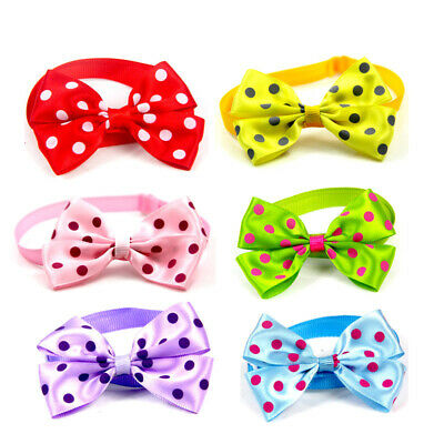 Pack Of 6 Dots Small Dog Cat Bow Tie Adjustable Collar Bowtie Pet Puppy Grooming