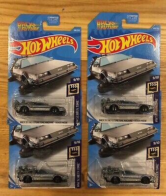 Hot Wheels 2019 Delorean Back To The Future Time Machine Hover Mode Lot Of 4