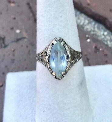 Beautiful Art Deco Solid 14k White Gold Filigree and Light Blue Topaz Ring! Size