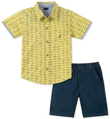 Nautica Boys Yellow Fish Shirt 2pc Short Set Size 4 5 6 7 $59.50
