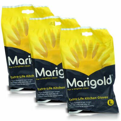 3 Pairs Marigold Extra Life Cotton Lined Stronger Various  Size Kitchen Gloves