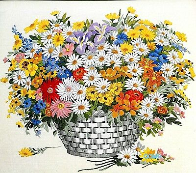 SPRINGTIME BOUQUET Vintage Crewel Kit Linen Fabric Paragon Stitchery Large Size