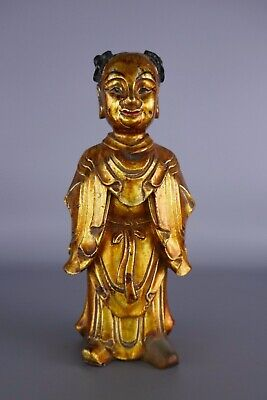 18th/19th Century Chinese Carved Wood Gold Gilt Figure Work Of Art