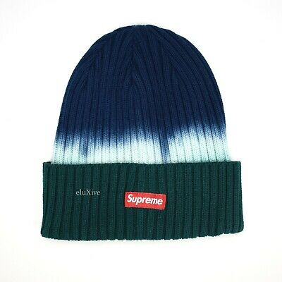 4eadecc2555 NWT Supreme NY Overdyed Tie Dye Small Red Box Logo Beanie Teal SS19 DS  AUTHENTIC