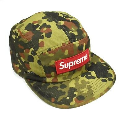 b72bea9ce51 NWT Supreme NY Red Box Logo German Military Camo Camp Cap Hat SS19 DS  AUTHENTIC