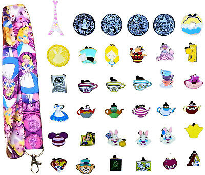 Alice in Wonderland Starter Lanyard Set with 5 Themed Disney Trading Pins - NEW