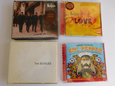 THE BEATLES * LIVE AT THE BBC, WHITE ALBUM, LOVE, MOJO SGT PEPPER x4 CD ALBUMS