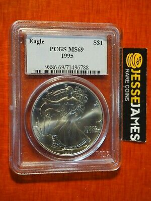 1995 American Silver Eagle Pcgs Ms69 Traditional Blue Label
