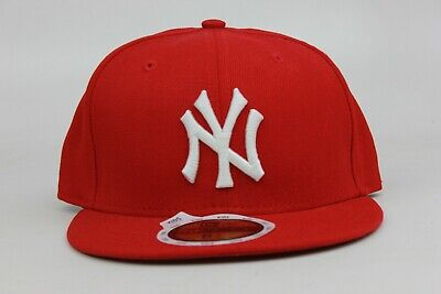 New York Yankees Red White KIDS New Era 59Fifty Fitted Hat Cap NY Custom