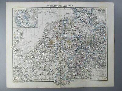 Original Color Map of Northwest Germany, with Netherlands and Belgium, 1874