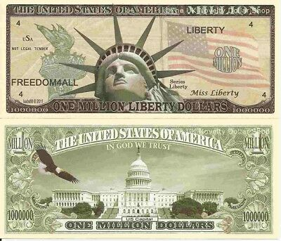 Statue of Liberty with Torch US Capital One Million Dollar Bills x 2 America
