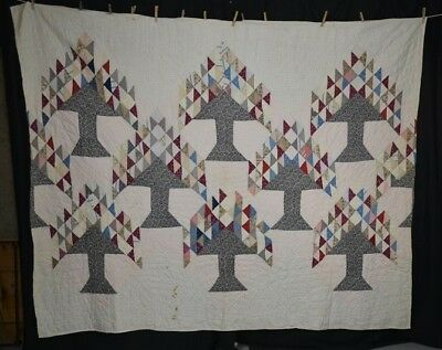 quilt Tree of Life patchwork 72 x 86 cotton early antique original 1860