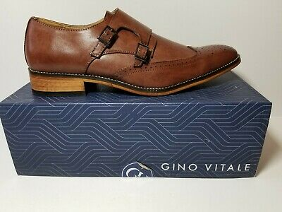 25ab2aa2d73 New In Box Gino Vitale Men s Double Monk Strap Brogue Dress Shoes Brown  Size 13