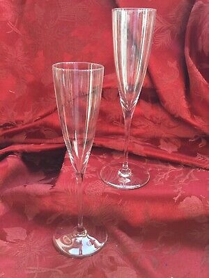 FLAWLESS Exquisite BACCARAT France Two DOM PERIGNON Crystal CHAMPAGNE FLUTE WINE