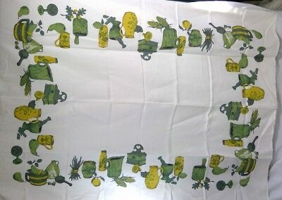 "vintage tablecloth mid century white linen texture 48"" x 67"" green/yellow border"