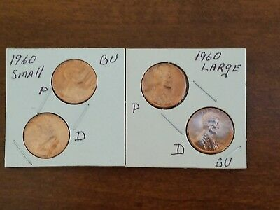 1960 ~P&D~ LARGE & SMALL DATE  UnCirc. (BU) LINCOLN CENT ~VARIETY~ SET IN 2X2