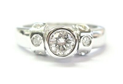 Natural Round Diamond Bezel Set White Gold Solitaire W Accent Ring .68Ct 14Kt