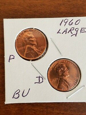 1960 ~P&D~   LARGE~ DATE  UnCirc. (BU) LINCOLN CENT ~VARIETY~ SET IN 2X2