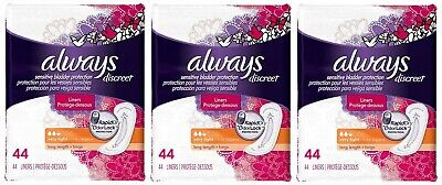 Always Discreet Liners Level 2 Very Light Long 3 Pack 132 Count Torn Pkgs B063