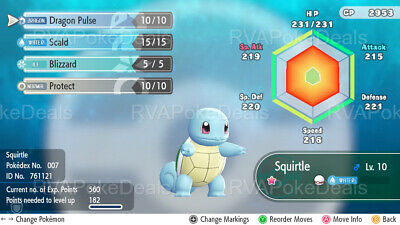 Pokemon Let's Go / Shiny Squirtle (Modest) / 6IV Max AVs [Battle Ready]