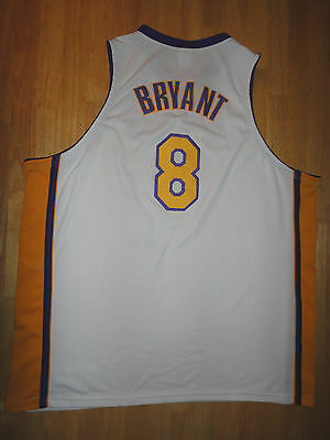 72e17c1cf16 KOBE BRYANT Reebok Authentic LOS ANGELES LA LAKERS White Sewn Jersey - Size  56