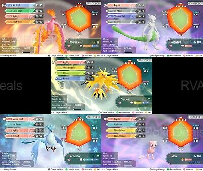 Pokemon Let's Go / Mew Mewtwo Zapdos Moltres Articuno / 6IV AVs [Legends Bundle]
