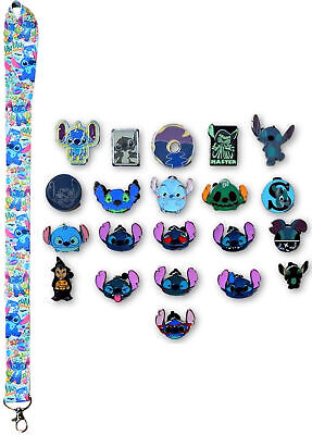 Stitch Lanyard and 5 Lilo & Stitch Themed Disney Trading Pins Starter Set - NEW